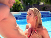 Stepmom Alexis Fawx blows and titty fucks her stepson in the pool