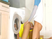 Brittney White gets fucked all over the washing machine