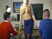 Blanche Bradburry seducing her students with her large knockers