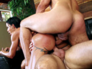 Jewels Jade gets the double penetration treatment by two masseurs