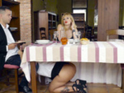 Waitress Blondie Fesser gives a special service