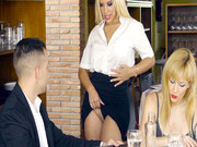 Waitress Blondie Fesser seduces Alberto while his gf looking over the menu