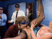 Office boss Monique Alexander gets pussy licked and fucked in the office