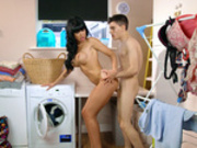 Milf Valentina Ricci gets fucked while doing laundry for her college stepson Jordi