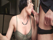 Brunette Olive Glass gives porfessional blowjob