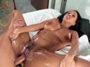 Oiled up latina Katt Garcia fucked in her pussy and her ass