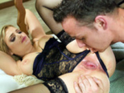 Katy Jayne handcuffed to the bed getting licked and fucked