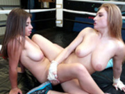 Ella Knox and Skylar Snow tribbing pussies in the middle of the ring