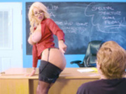 Teacher Nicolette Shea teasing pupil as she strips down