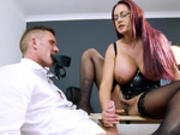 Red head BBW Emma Butt loves to jerk, suck and footjob a hard cock