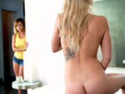Dillion Harper spying on her stepsister Zoey Monroe while she masturbates