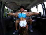 Kelsi Monroe upside down pussy licked on the Bang Bus