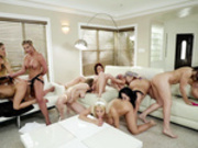 10 Lesbian Pornstars Having an Orgy - Brazzers HD