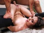 Shae Celestine with legs thrown back gets drilled on the floor