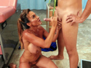 Australian milf nurse Aubrey Black takes a messy facial