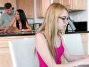 Tia Cyrus gets fucked by her roommates boyfriend behind the kitchen counter