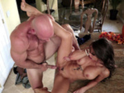 Pornstar Madison Ivy enjoys a big cock in her pussy on the kitchen counter