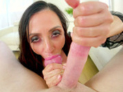 Ariella Ferrera sucks cock and rims bungole in POV
