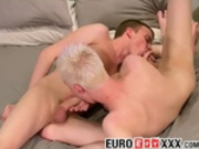 Leo sucks his own cock while Jamie is fucking him hard