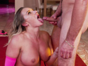 Cali Carter opens her mouth for Lucas Frost's cum