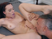 Small chested brunette Aidra Fox gets her pussy licked