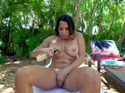Latina Milf Julianna Vega oils up her sexy body