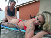 Ryan Conner gets the pool boy to rub her body with cream