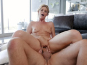 Milf India Summer rides her masseur's cock while he fingers her pussy