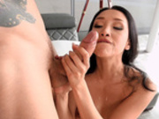 Cock hungry latina Vicki Chase enjoys a tasty cum facial