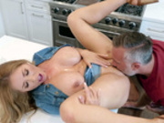 Busty pornstar Kianna Dior getting her pussy licked on the kitchen counter
