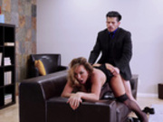 Milf Aubrey Black gets fucked doggy style on the living room couch