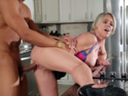 Dee Williams taking a big black cock bent over the kitchen counter