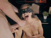 Mysterious babe Tina Kay opens her mouth wide for some tasty cum