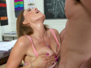 Teacher Krissy Lynn titty fucks her student till he cums straight up her neck