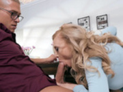 Cock hungry mom Nina Hartley devours a big cock at the dinner table