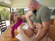 Teen Jill Kassidy getting pounded on the kitchen table
