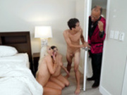 Natalie Brooks and her stepmom Nicolette Shea get caught with their faces full of cum