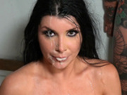 Romi Rain enjoys a bukkake facial from 3 guys in back of a delivery truck