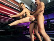 Sloan Harper gets fucked while standing in a boxing ring