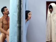 Whitney Wright tries to hide behind a shower curtain while getting fucked standing doggy style