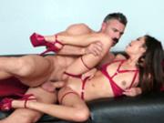 Teen Vina Sky enjoys a nice hard pussy fucking sideways