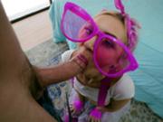 Tiny teen Chloe Temple sucking on Jmac's huge cock