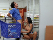 Latina milf Luna Star sucks young cock in the grocery store