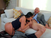 Pornstar Angela White sucks on Johnny Sins huge cock