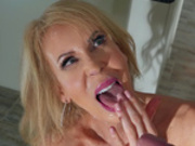 Mature mom Erica Lauren gets her face covered with young fresh warm cum