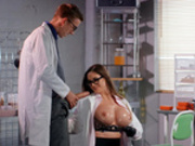 Big boobed doctor Cathy Heaven sucks on the monster cock of Danny D