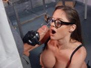 Naughty scientist Cathy Heaven makes Danny D shoot his cum all over her face