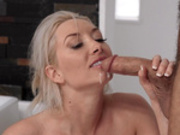 Cheating wife Gia Love takes a facial cumshot in the bathroom