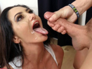 Very happy Ava Addams gets her face covered with cum