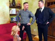 Milf Sarah Jessie gets caught by her husband after getting her face creamed